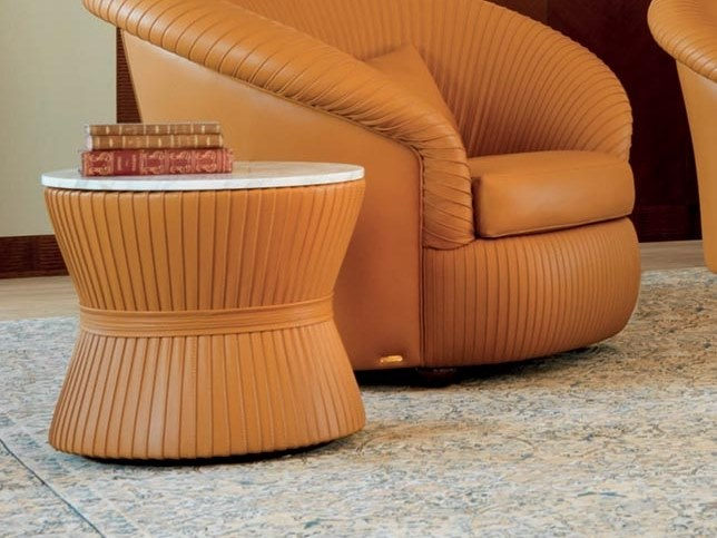 Round leather coffee table GESSATO | Coffee table by Mascheroni