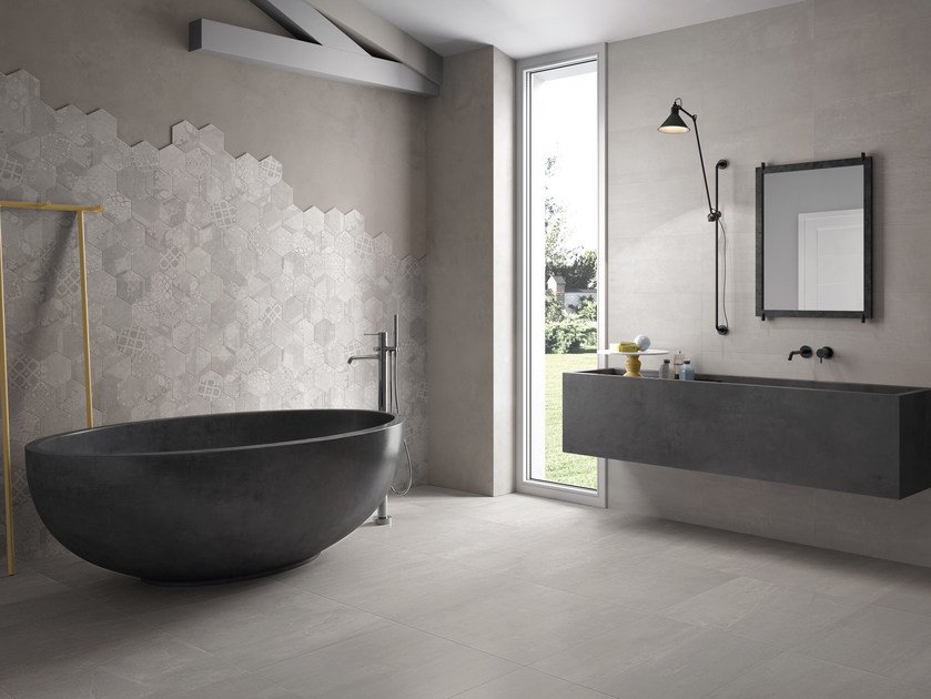 Indoor porcelain stoneware wall/floor tiles GESSO PEARL GREY by Provenza by Emilgroup