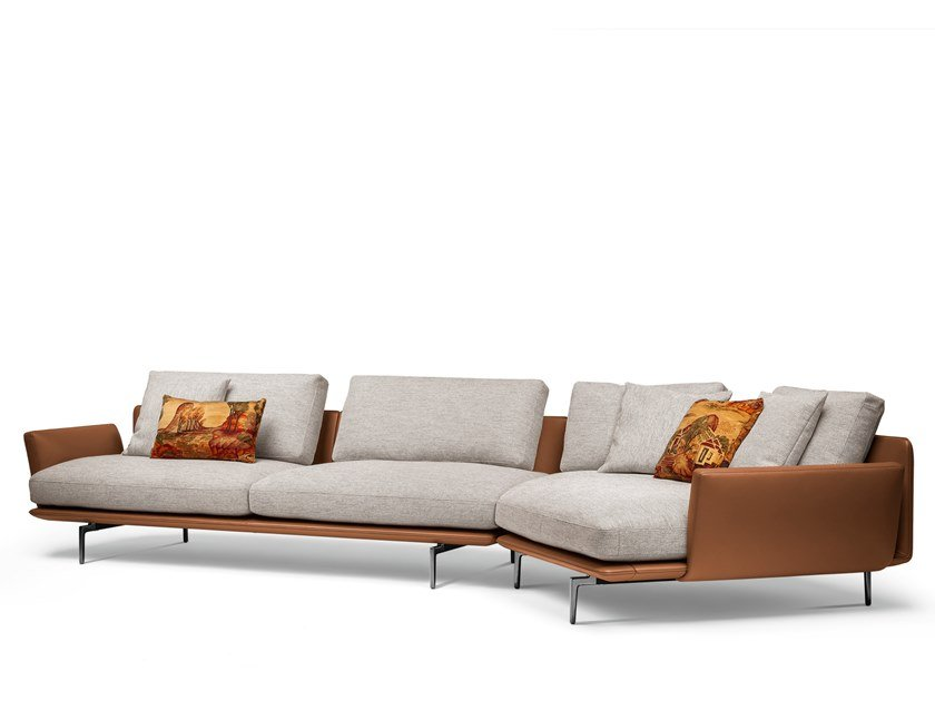 Sectional leather and fabric sofa GET BACK | Sectional sofa by Poltrona Frau