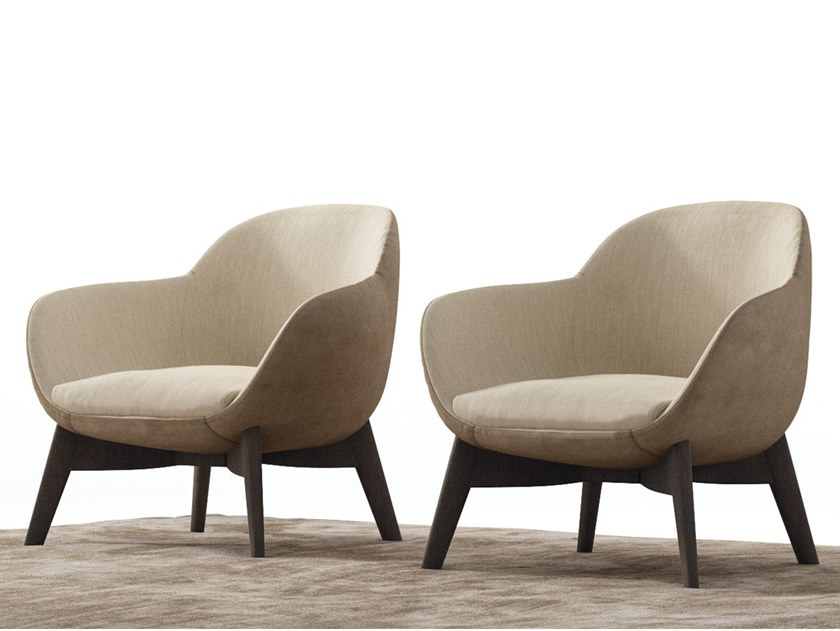 Fabric armchair with armrests GHIRLA | Armchair by NICOLINE