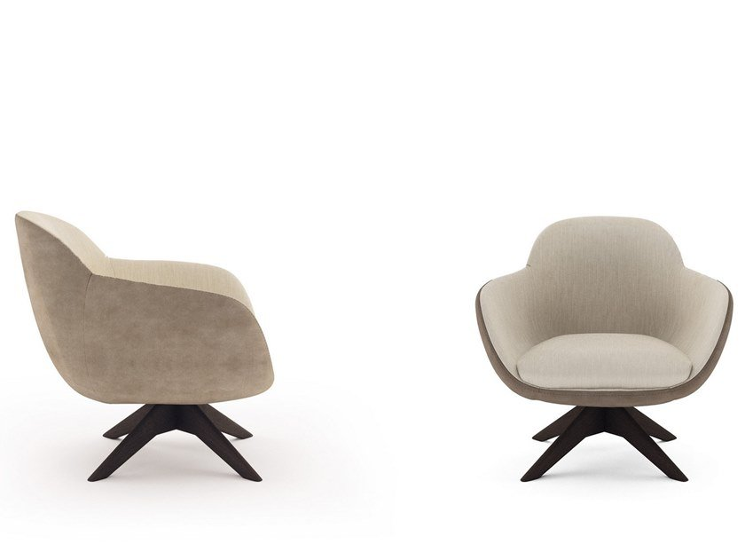 Swivel fabric armchair with armrests GHIRLA | Swivel armchair by NICOLINE