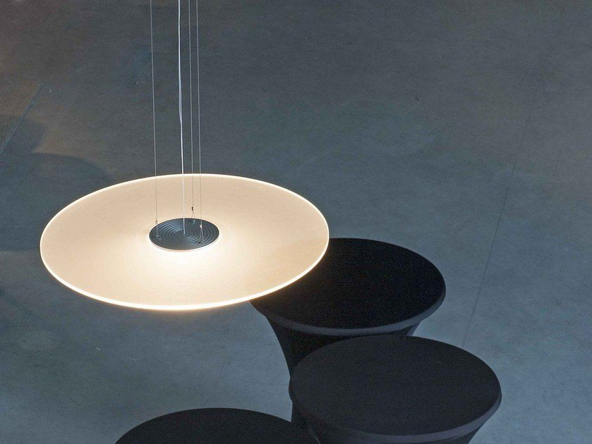 LED PMMA pendant lamp with dimmer GHOST DISC by FERROLIGHT DESIGN