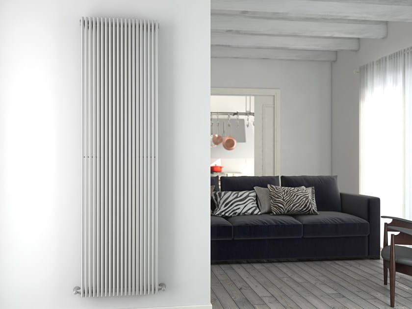 Vertical brushed steel towel warmer GIADA VT | Brushed steel towel warmer by CORDIVARI