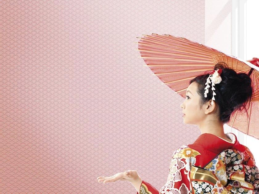 Japanese style motif rubber wallpaper GIAPPO VENTAGLIO by Tecnografica Italian Wallcoverings