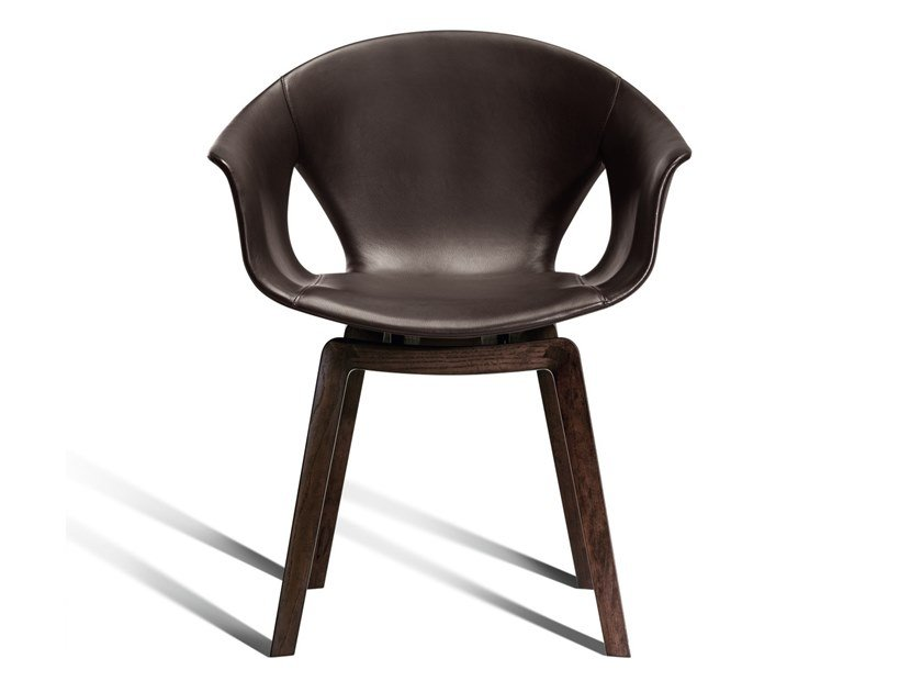 Leather chair with armrests GINGER   Leather chair by Poltrona Frau