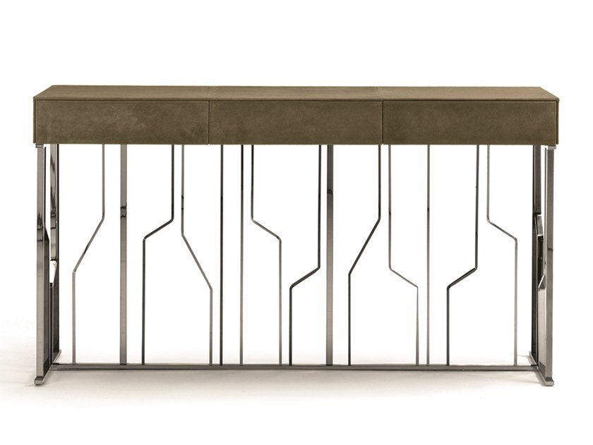 Rectangular leather console table with drawers GINZA EVO | Rectangular console table by Longhi