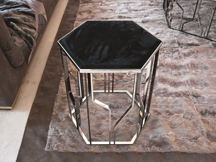 Tavolino esagonale in pelle GINZA | Tavolino in pelle by Longhi