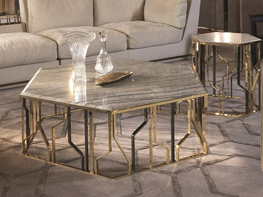 GINZA Marble Coffee Table Loveluxe Collection By Longhi Design - Hexagon marble coffee table