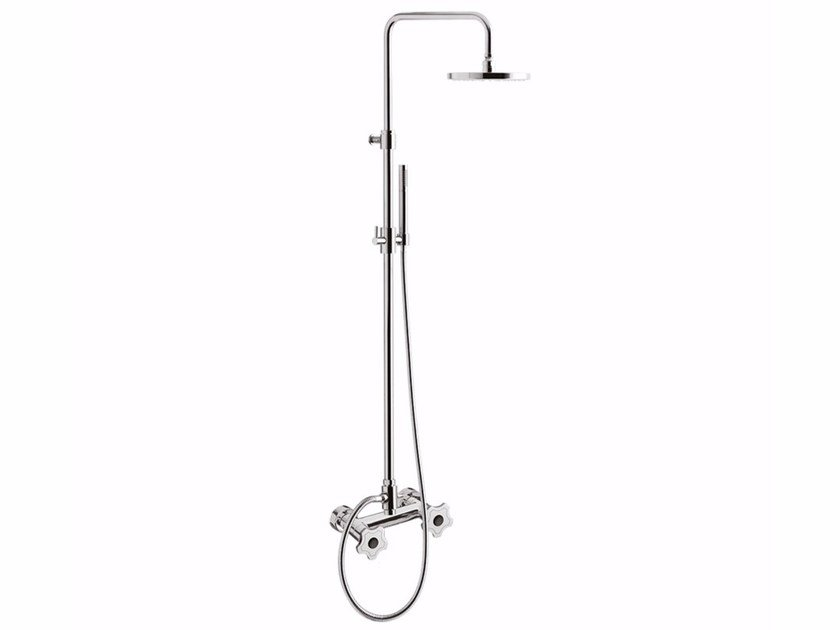 Wall-mounted shower panel with overhead shower GIÒ CRYSTAL - GIÒ - F3607WC-S/S by Rubinetteria Giulini