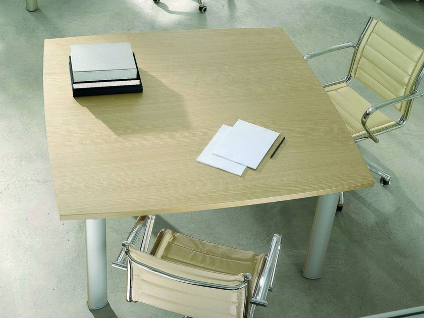 Square melamine-faced chipboard office desk GIOVE G14W by Arcadia