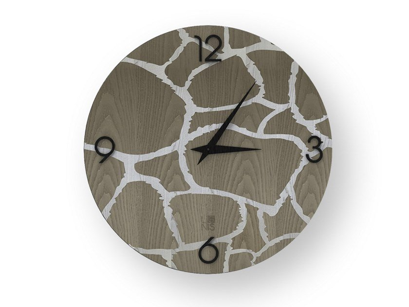 Wall clock made of inlayed wood GIRAFFE COLD | Clock by LIGNIS®