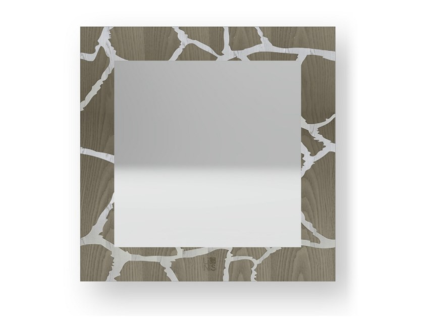 Square wall-mounted framed mirror GIRAFFE COLD | Mirror by LIGNIS®