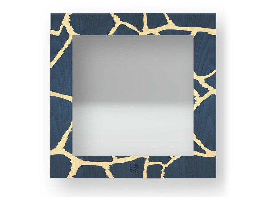 Square wall-mounted framed mirror GIRAFFE COLORS | Mirror by LIGNIS®