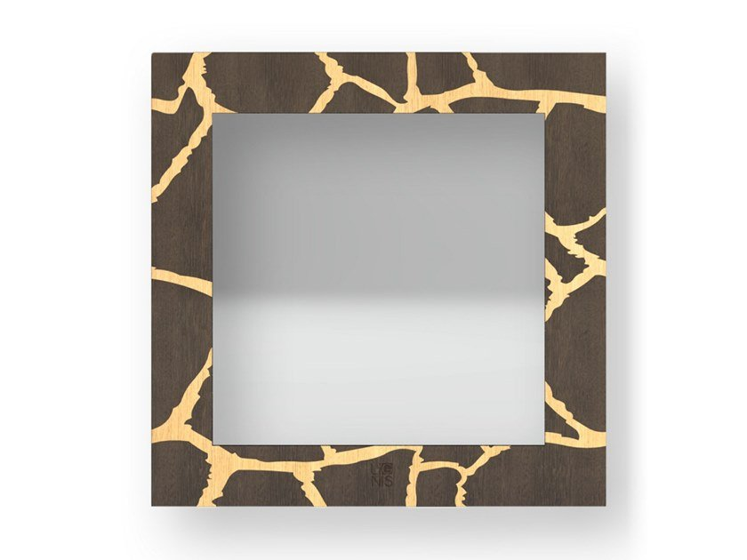 Square wall-mounted framed mirror GIRAFFE WARM | Mirror by LIGNIS®