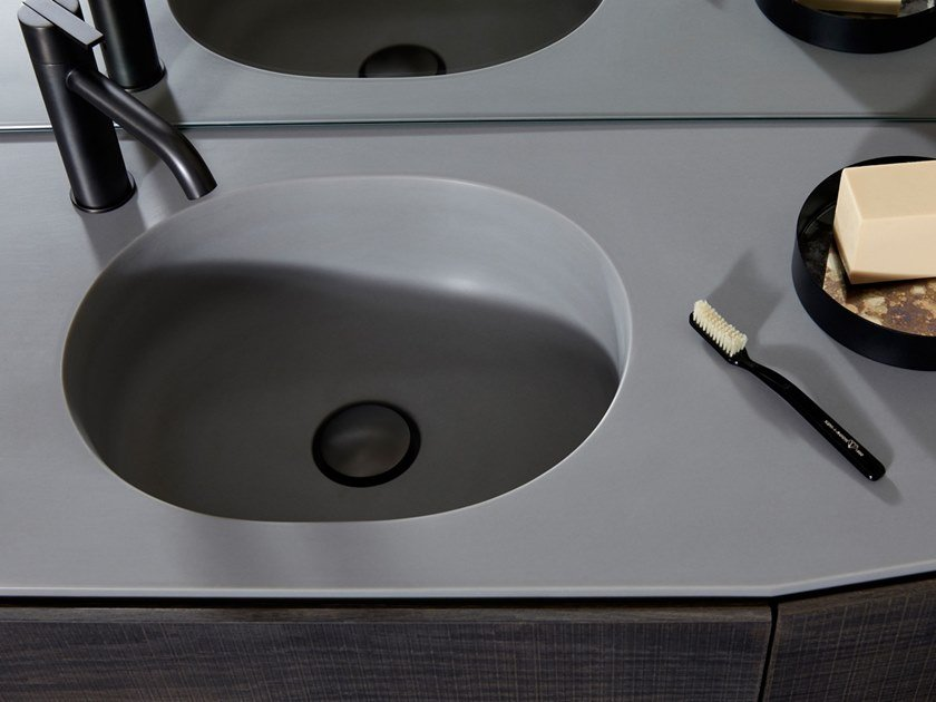 Round single Cementsolid washbasin with integrated countertop GIRO | Cementsolid washbasin by INBANI
