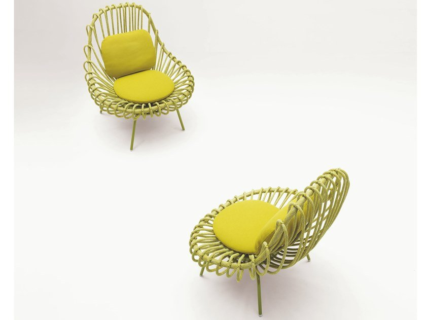 Garden easy chair with removable cover GIUNCO by paola lenti