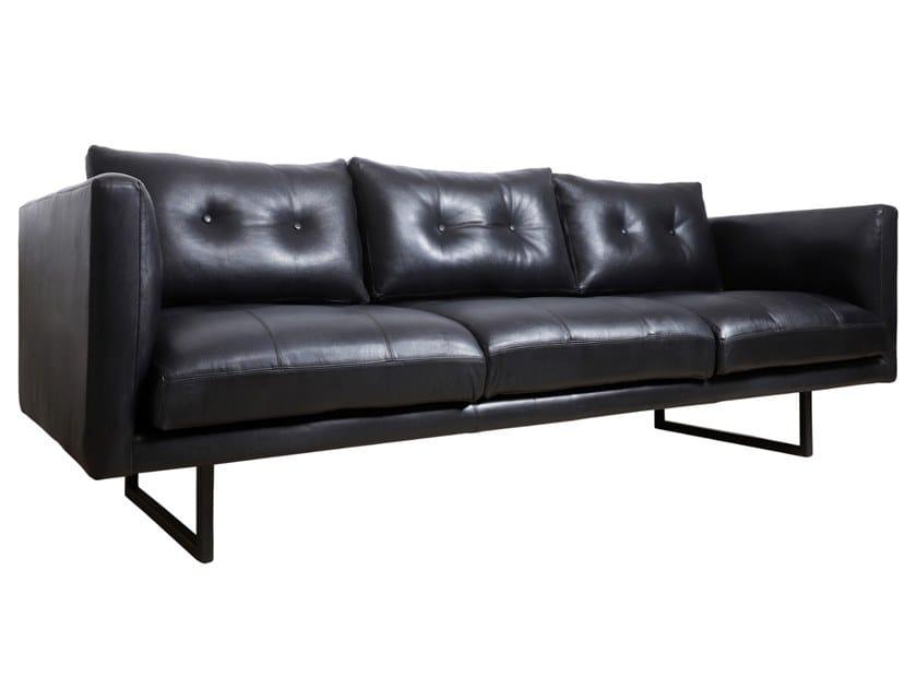 Sled base 3 seater leather sofa GIZA by ALANKARAM
