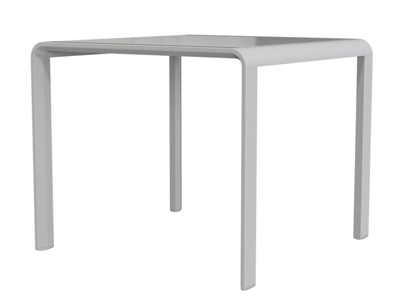 Square glass and aluminium garden side table ZEPHYR | Glass and aluminium coffee table by JANUS et Cie