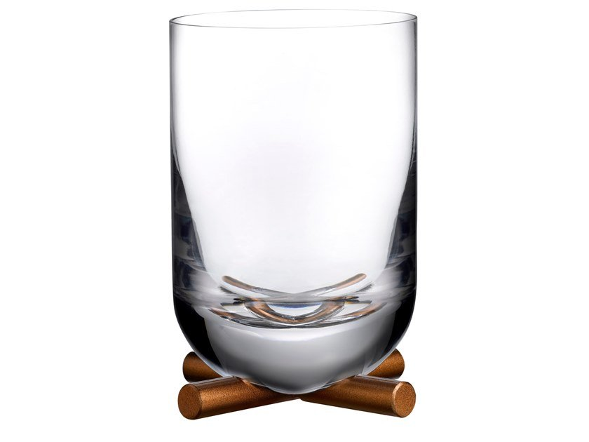 Crystal whisky DOF glass With brass base CAMP | Glass by NUDE