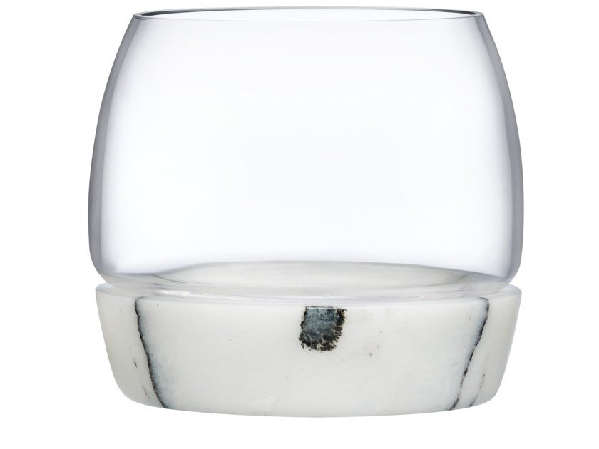 Crystal whisky tumbler with marble base CHILL | Glass by NUDE