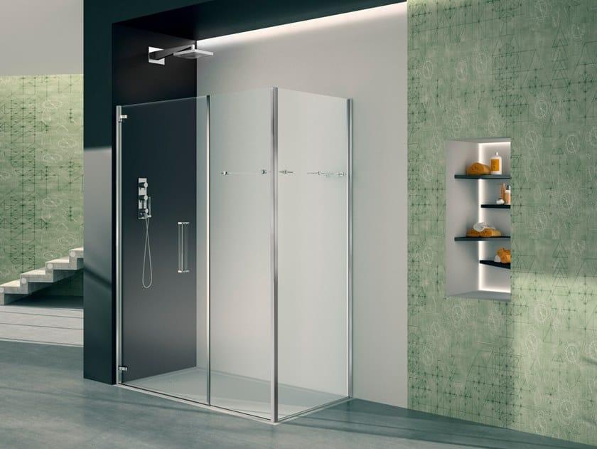 Box doccia angolare in vetro con porta a battente PRISMA 1.0   Box doccia in vetro by MEGIUS