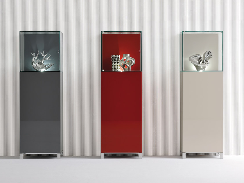 Lacquered highboard with doors GLASS by Silenia