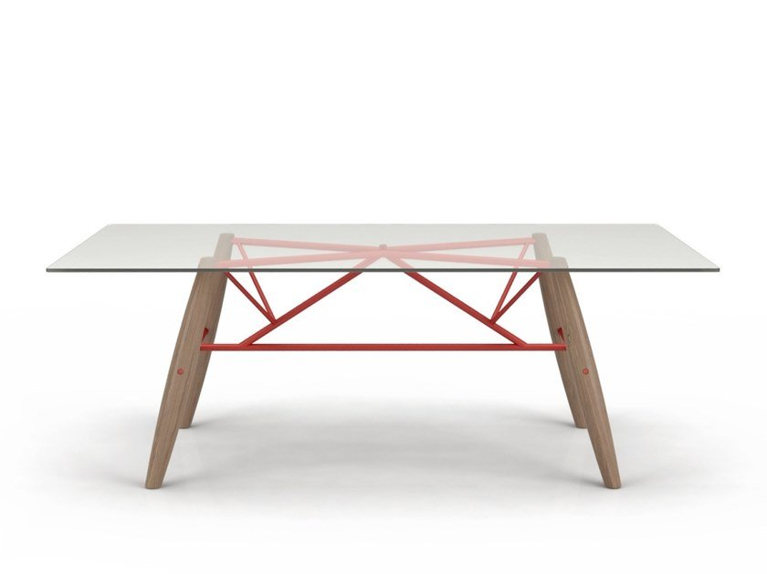 Rectangular wood and glass dining table CONNECTION | Glass table by Huppé
