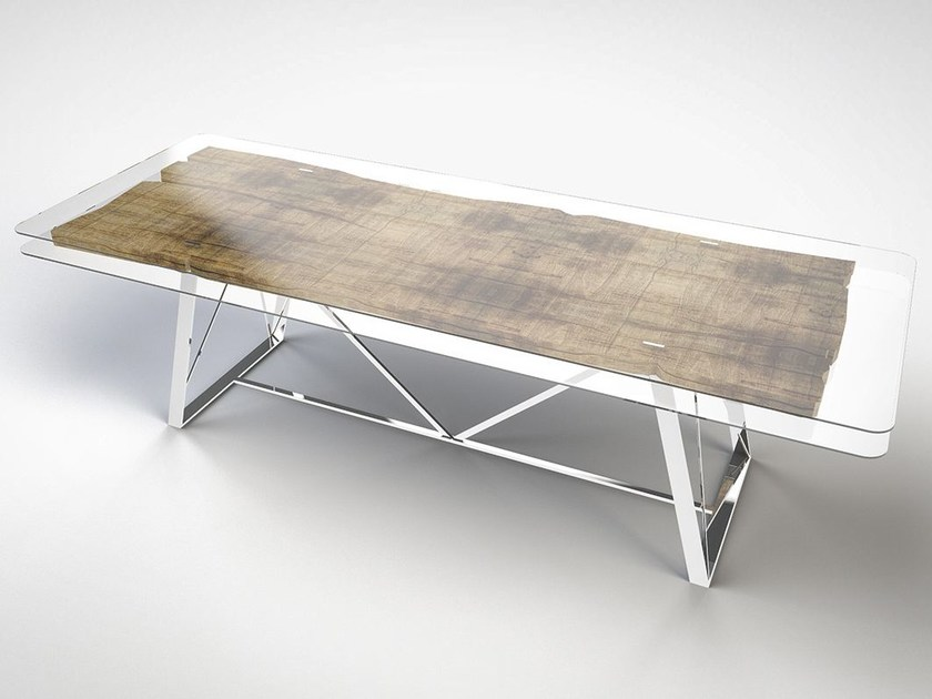 Rectangular wood and glass table GLASS | Wood and glass table by IronWoods