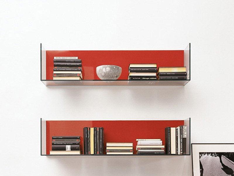 Open tempered glass wall cabinet GLASSBOX by EmmeBi
