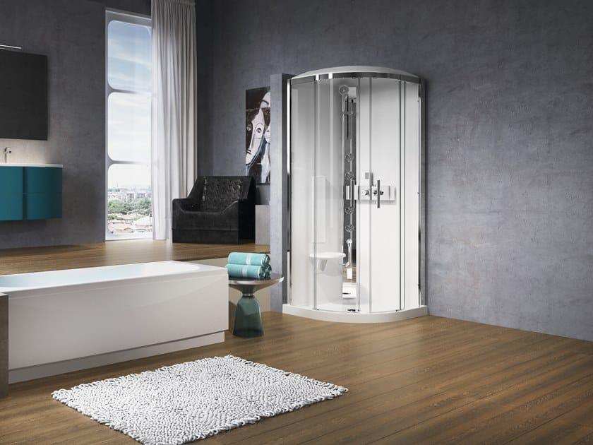 Box doccia semicircolare con idromassaggio glax r90 novellini