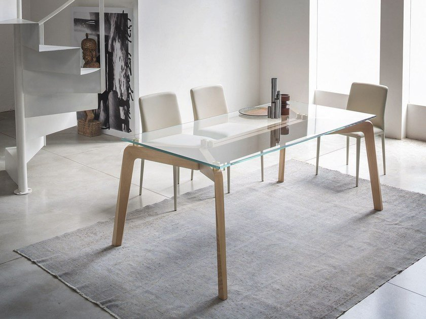 Rectangular wood and glass living room table GLIDE | Rectangular table by RIFLESSI