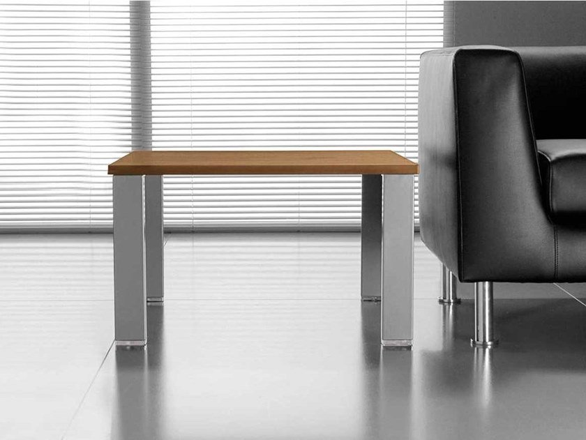 Low square walnut coffee table GLIDER | Square coffee table by Bralco