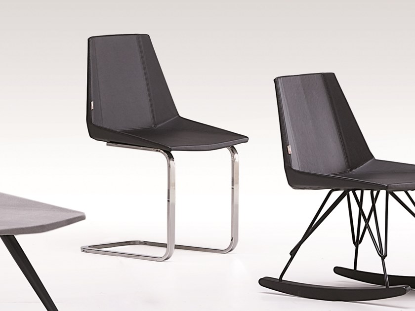 Cantilever imitation leather chair GLIM | Cantilever chair by Natisa