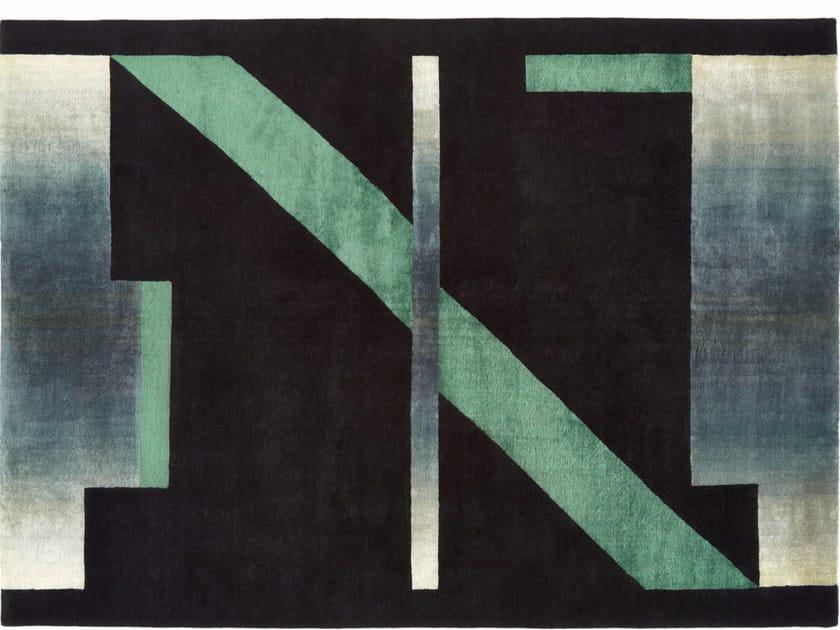 Handmade rectangular wool rug GLIMPSE by Deirdre Dyson