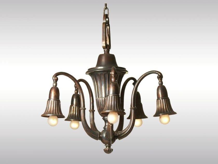 Classic style copper chandelier GLOCKENBLUME KUPFER by Woka Lamps Vienna