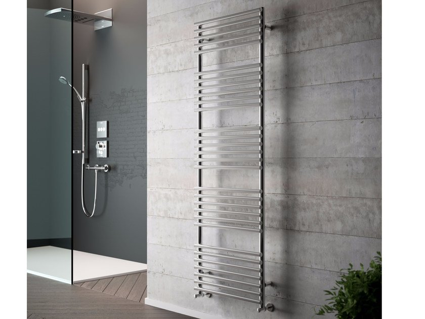 Vertical wall-mounted chrome plated steel towel warmer GLORIA CROMATO by CORDIVARI