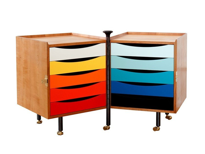Cherry wood office drawer unit with casters GLOVE by Onecollection