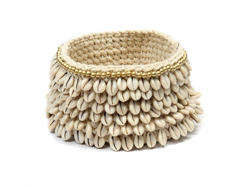 Cotton basket GOLD & COWRIE | Basket by Bazar Bizar