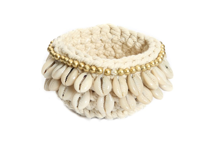 Cotton candle holder GOLD & COWRIE   Candle holder by Bazar Bizar