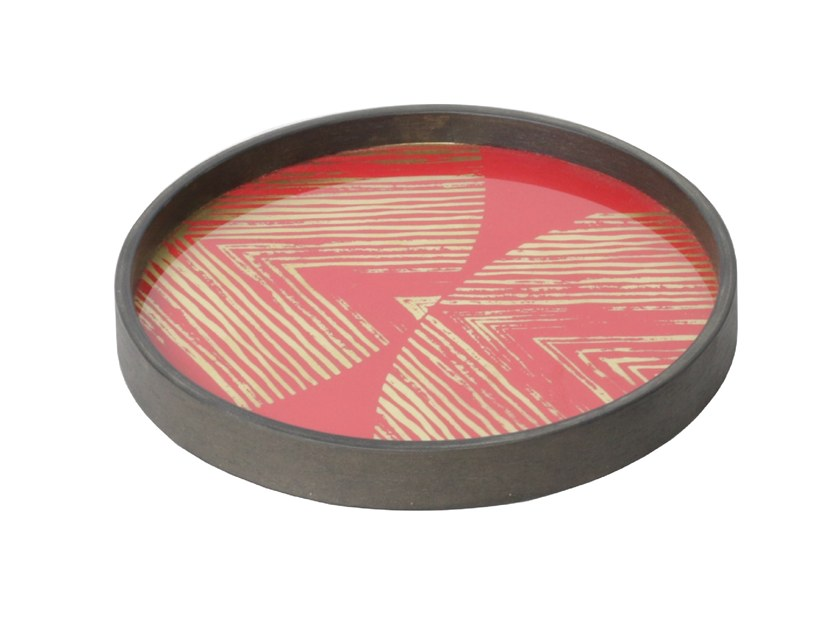 Round glass tray GOLD LINEAR CIRCLES by Notre Monde