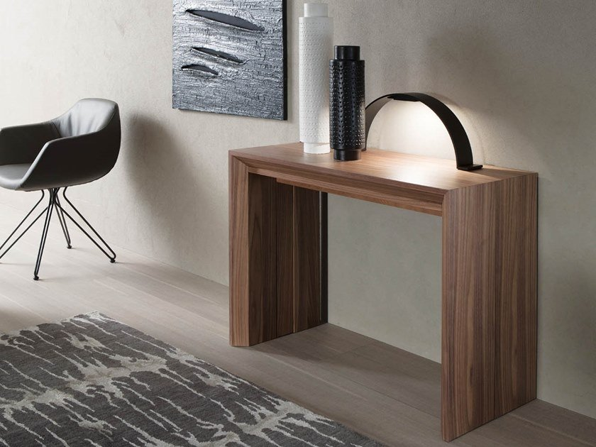 Extending rectangular walnut console table GOLIA | Wooden console table by Ozzio Italia