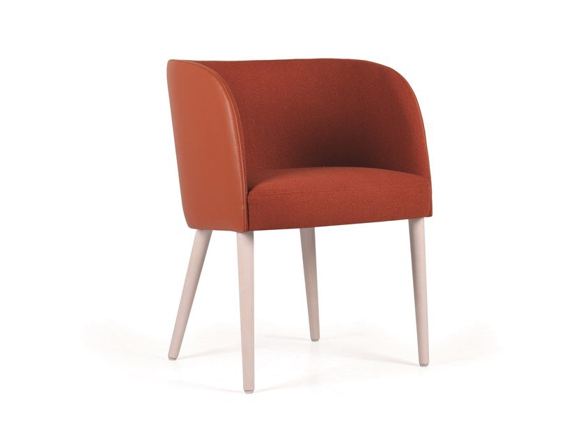 Upholstered fabric chair with armrests GOMO MAPLE by Fenabel