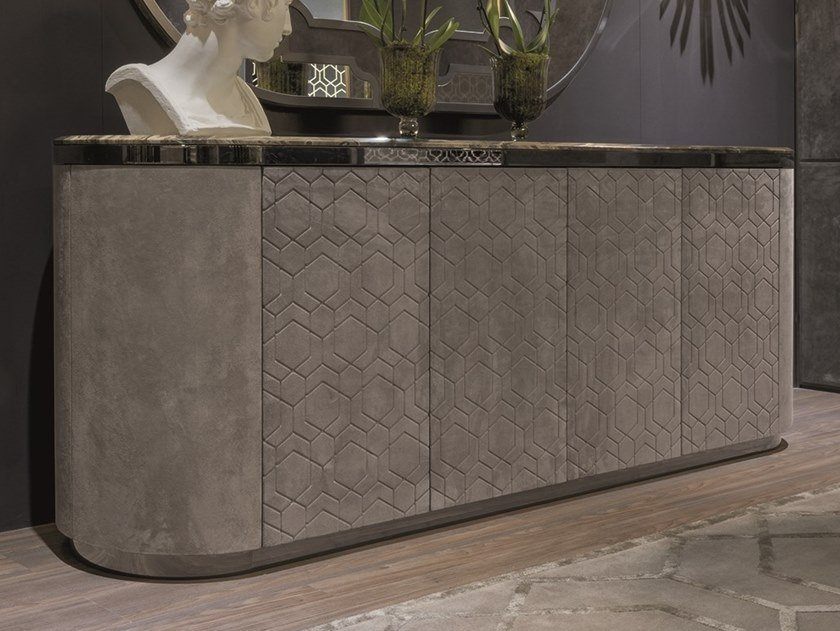 Leather sideboard with doors GORDON | Leather sideboard by Longhi