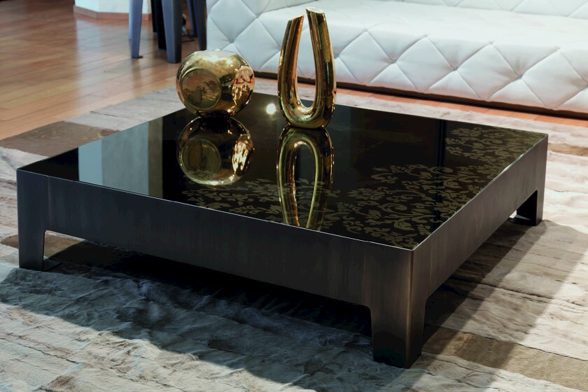 Square mirrored glass coffee table GORKY | Coffee table by Longhi