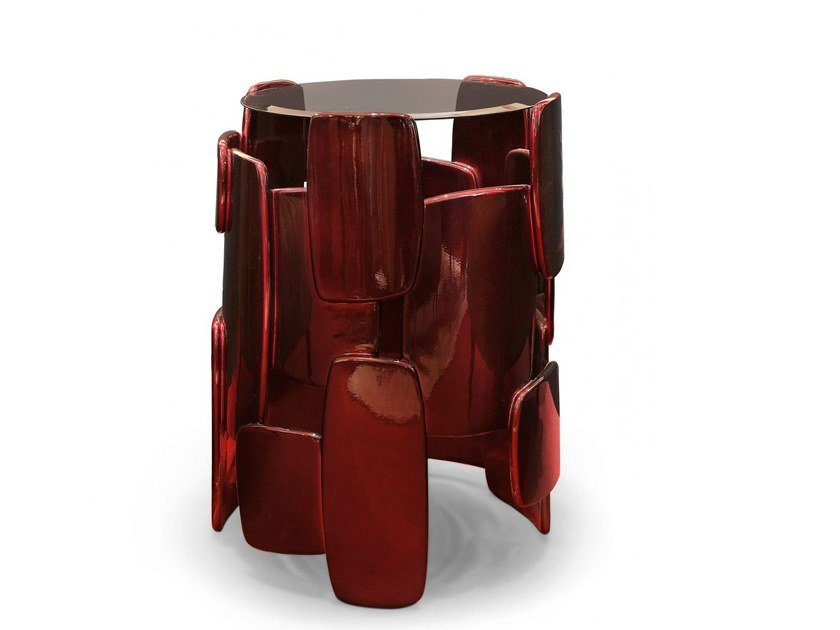 Lacquered round side table GOROKA by BRABBU