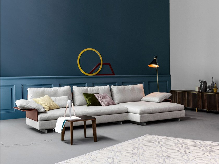 Upholstered fabric sofa with removable cover with chaise longue GOSSIP | Sofa with chaise longue by Bonaldo