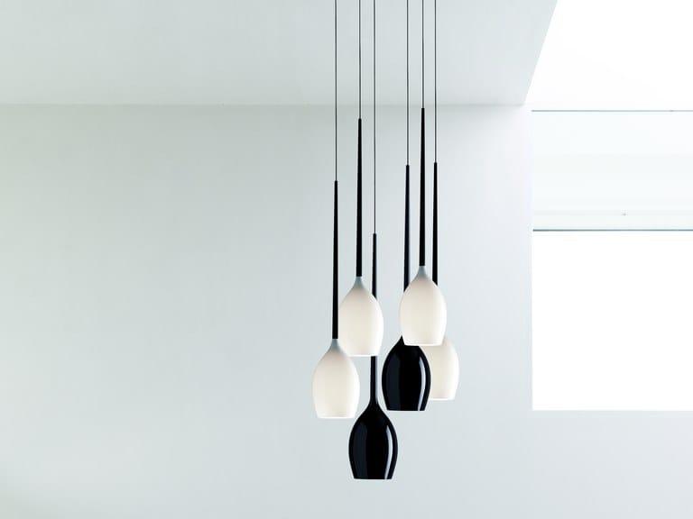 Blown glass pendant lamp GOUT by Quadrifoglio