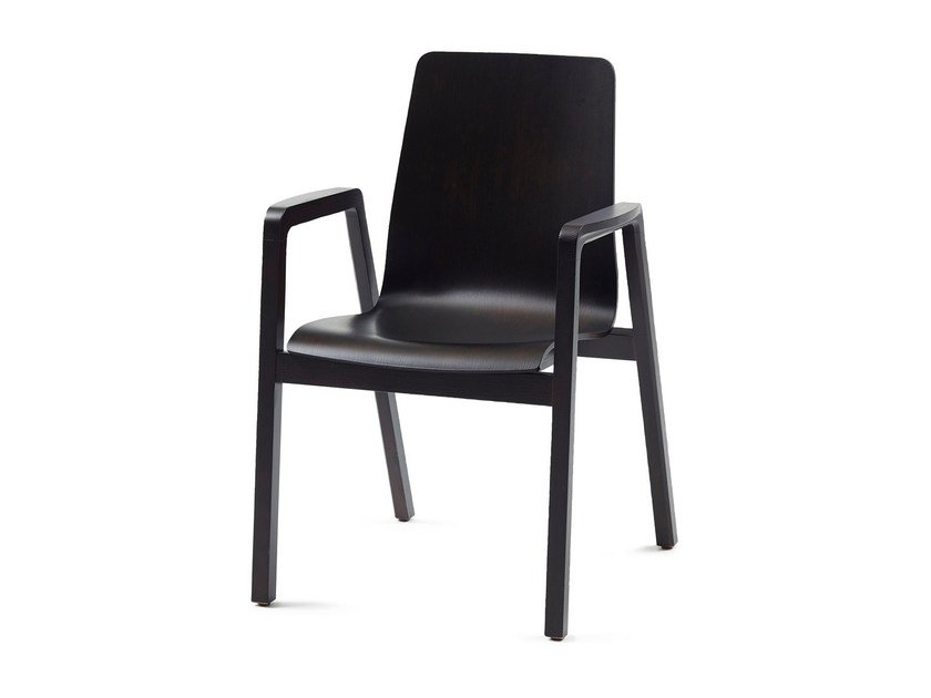Lacquered wooden chair with armrests GRACE + A by Z-Editions