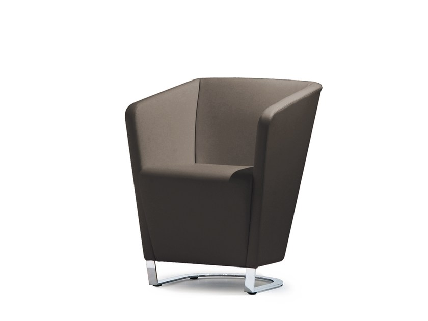 Sled base fabric easy chair with armrests GRACE | Sled base easy chair by Wiesner-Hager