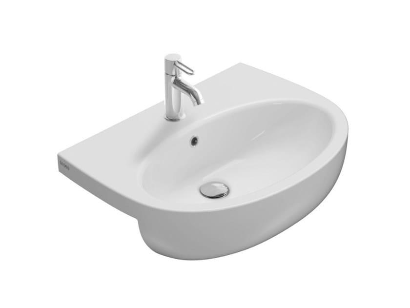 Semi-inset oval ceramic washbasin GRACE | Semi-inset washbasin by Ceramica Globo